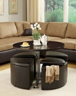 Gas Lift Table w/ 4 Storage Ottomans Rowley by Homelegance EL-3217PU
