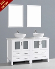 Glossy White 60in Double Round Vessel Sink Vanity by Bosconi BOAW230RO