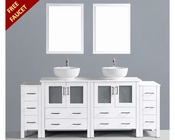 Glossy White 84in Round Double Sink Vanity by Bosconi BOAW230RO2S