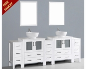 Glossy White 96in Round Double Sink Vanity by Bosconi BOAW230RO3S