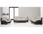 Grey and Black Bonded Leather Sofa Set in Contemporary Style 44L2927