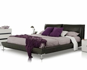 Grey Leather Platform Bed in Modern Style 44B107BD