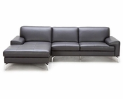 Grey Leather Sectional Sofa in Modern Style 44L5933