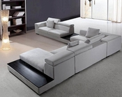 Grey Microfiber Contemporary Sectional Sofa Set 44L0615