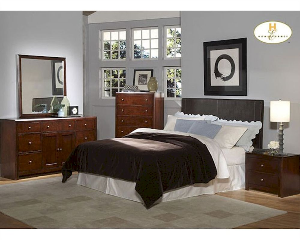 homelegance dark brown headboard bedroom set copley el815pu 1set