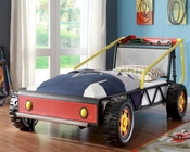 Homelegance Twin Race Car Bed in Red Track EL-2009T-1