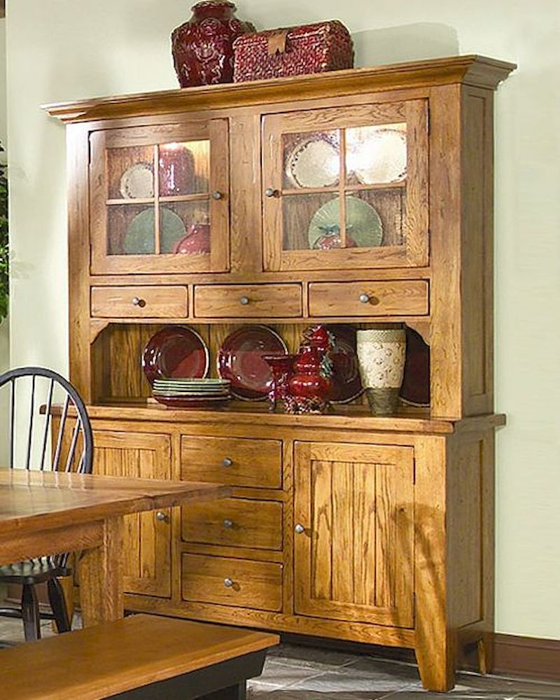 Intercon Solid Oak Buffet And Hutch Rustic Traditions