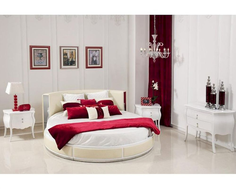 italian bedroom set w modern round bed 44b199set
