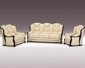 Italian Ivory Full Leather Classic Sofa Set 44LHLE