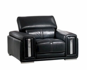 Italian Leather Chair in Black ESF2992C