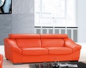 Italian Leather Sofa European Design in Orange Finish 33SS272