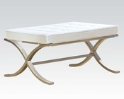Ivory and Chrome Ottoman by Acme AC96375
