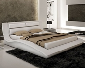 J&M Wave Queen/King Platform Bed in White JM-SKU178361BED