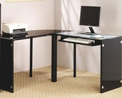 "Lawnview Contemporary ""L"" Desk with Black Glass Top CO800457"