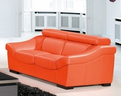 Leather Loveseat European Design in Orange Finish 33SS273