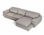 Leather Sectional Sofa in Grey Finish 44L5934
