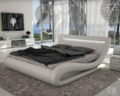 Leatherette Bed w/ Headboard Lights in Contemporary Style 44B140BD