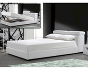 Leatherette Bed w/ Storage in White Finish 44B144BD