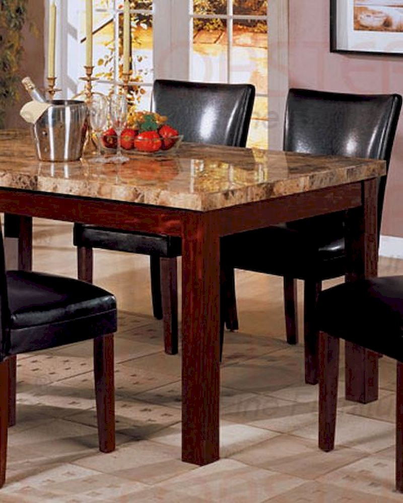 Marble Top Dining Table In Rich Cherry CO 120311