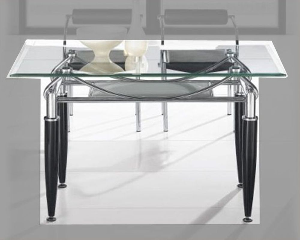 Metal Dining Table W Glass Top OL DT17