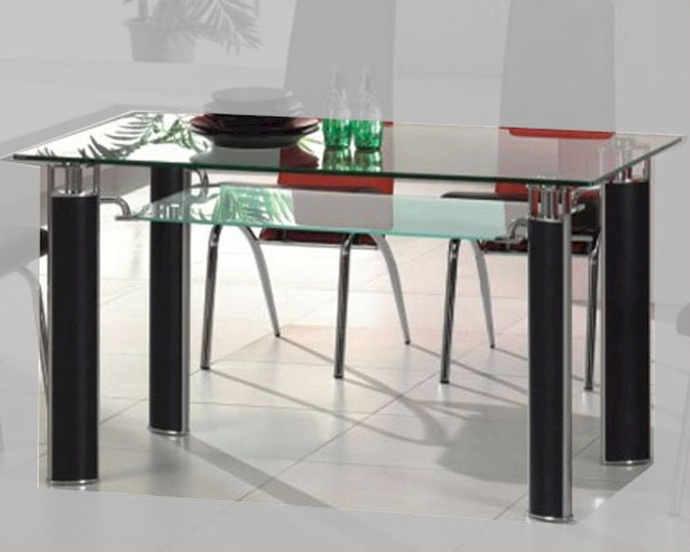 Metal Dining Table W Glass Top OL DT38