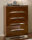 Modern 5 Drawer Chest in Dark Cherry Finish Made in Italy 33B37