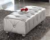 Modern Bedroom Bench Lolita in Silver Finish Made in Spain 33B287