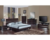 Modern Bedroom Set Anetta in Wenge Finish 35B91