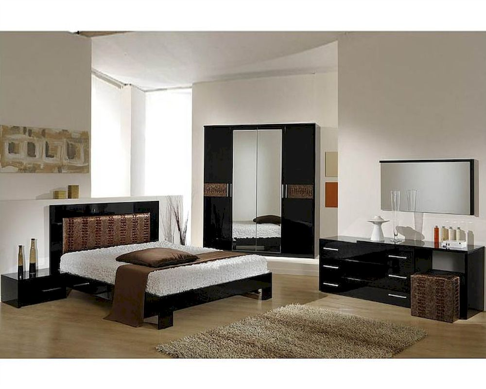Modern Bedroom Set In Black Brown Finish Made In Italy 44B5111BB