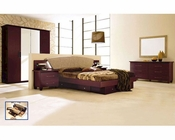 Modern Bedroom Set in Dark Cherry Made in Italy 33B81