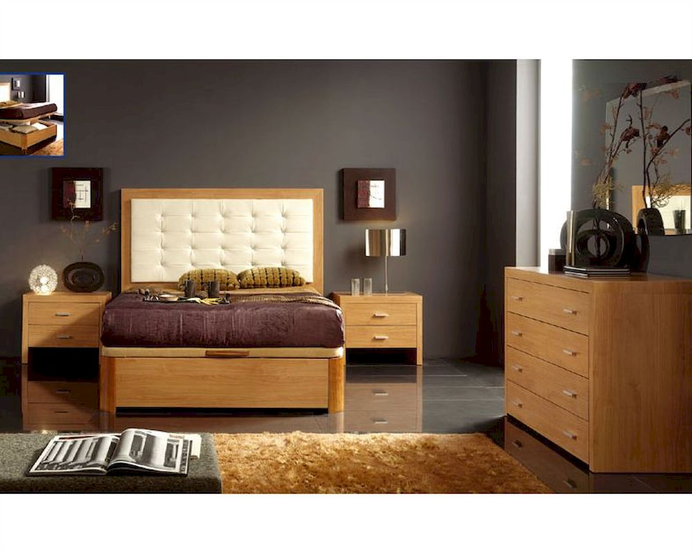 Maple Bedroom Furniture Bedroom Set In Maple Finish Made In Spain 33b21