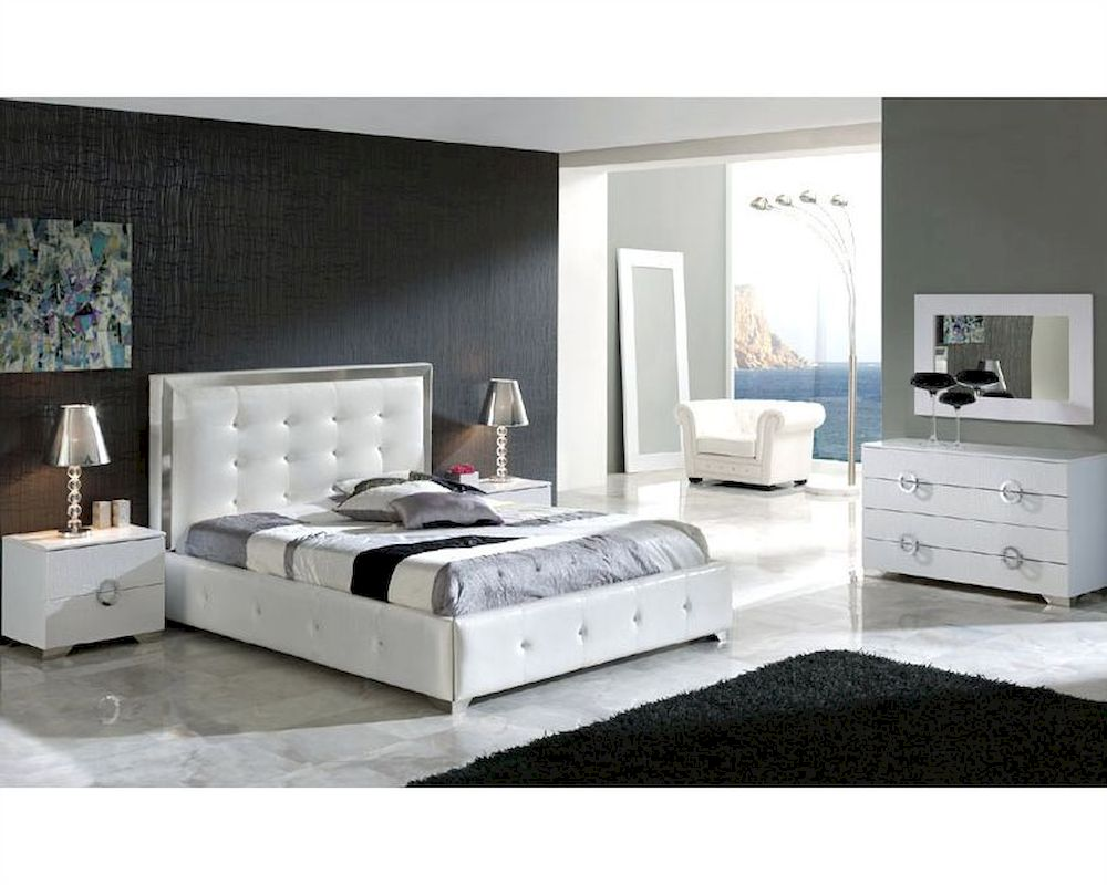 Elegant wood modern master bedroom set feat wood grain cincinnati ohio - Modern Bedroom Set Valencia In White Made In Spain 33b241