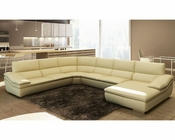 Modern Beige Italian Leather Sectional Sofa 44L5957