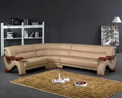 Modern Beige Leather Sectional Sofa Set 44L2033B