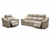 Modern Beige Leather Sofa Set 44L6005
