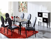 Modern Black Dining Set Glass Top Table European Design Spain 33D221