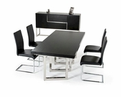 Modern Black Dining Set w/ Extendable Dining Table 44D2736-SET