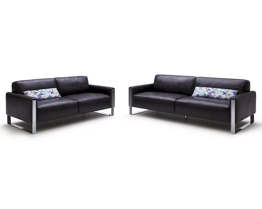 Modern Black Full Leather Sofa Set 44L5921