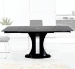 Modern Black Glass Extendable Dining Table 44D2331XT