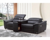 Modern Black Italian Leather Recliner Sofa w/ Wine Cabinet 44L5941