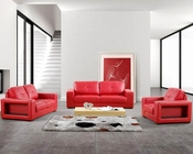 Modern Bonded Leather Sofa Set in Red44L3006
