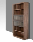 Modern Bookcase in Walnut and Brown Leatherette 44F082-3