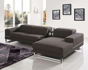 Modern Brown Fabric Sectional Sofa w/ iPhone Dock 44L5948