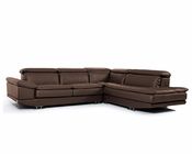 Modern Brown Full Italian Leather Sectional Sofa 44L5979
