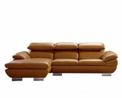 Modern Camel Full Leather Sectional Sofa 44L6074