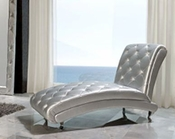Modern Chaise Lounge Lolita in Silver Finish Made in Spain 33B288
