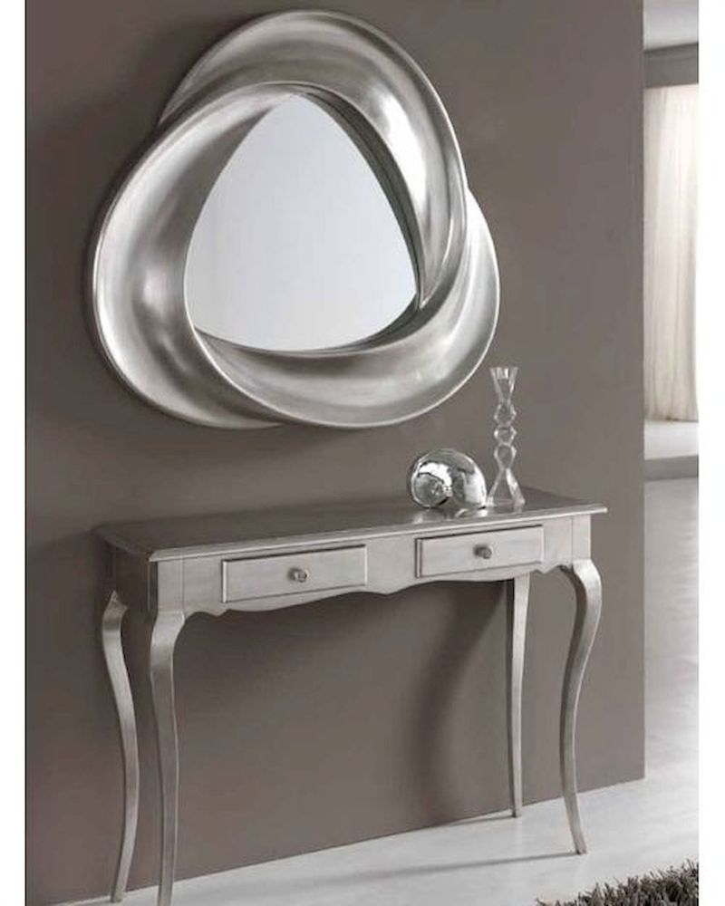 Modern Console Table And Mirror Set In Silver Finish 33c61
