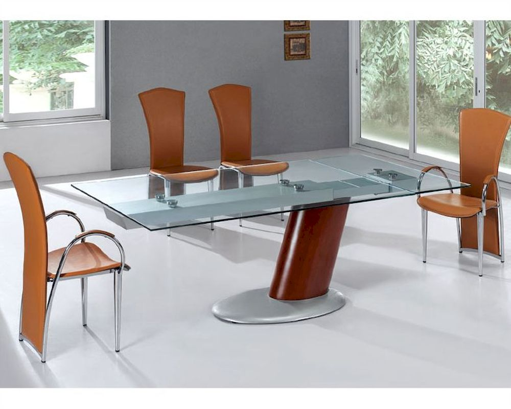 Modern Dining Set Glass Top Table European Design 33d241