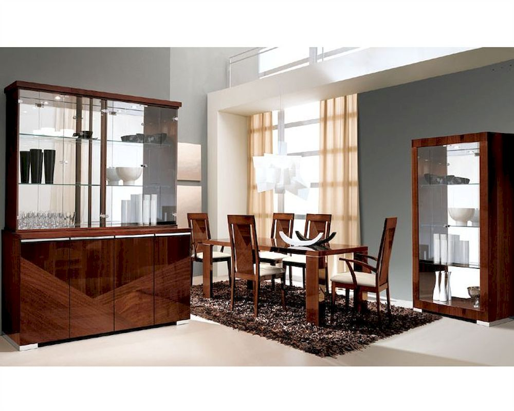 D313 Modern Dining Room Set In White Lacquer Finish: Modern Dining Set In High Gloss Walnut Finish 33D61