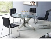 Modern Dining Set Round Glass Top Table European Design 33D231